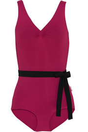 Belted ruched stretch-jersey leotard