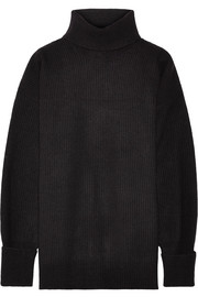 Nubuck-trimmed ribbed wool-blend turtleneck sweater