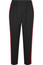 Grosgrain-trimmed wool and mohair-blend gabardine tapered pants