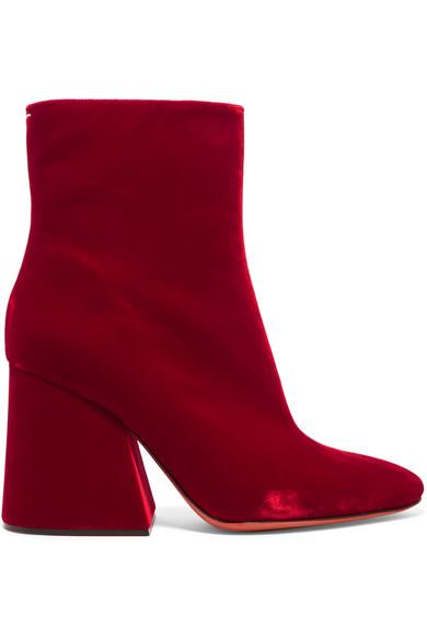 Maison Margiela - Velvet Ankle Boots - Red