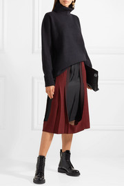 Paneled houndstooth wool and twill midi skirt