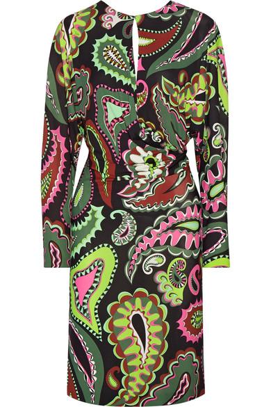 Emilio Pucci - Gathered Printed Jersey Dress - Green