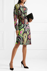 Gathered printed jersey dress