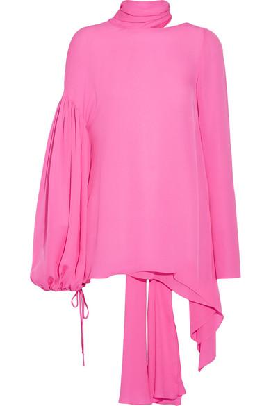 Emilio Pucci - Asymmetric Silk Crepe De Chine Blouse - Pink