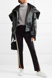 Victoria, Victoria Beckham Hooded shearling-trimmed satin jacket