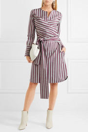 Victoria, Victoria Beckham Tie-front striped cotton shirt dress