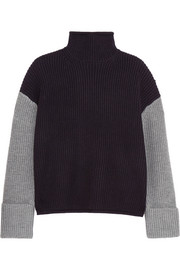 Oversized color-block wool turtleneck sweater