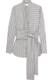 Tie-front striped cotton-poplin shirt