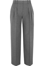 Pleated wool-twill straight-leg pants