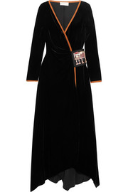 Peter Pilotto Swarovski crystal-embellished velvet wrap gown