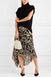 Peter Pilotto Asymmetric metallic fil coupé silk-blend skirt