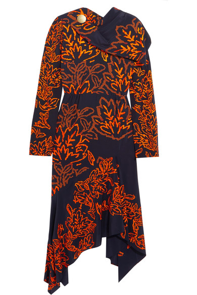 Peter Pilotto - Embroidered Silk Dress - Navy
