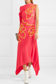 Peter Pilotto Asymmetric chenille-trimmed crepe midi dress