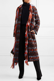 Crystal-embellished fringed wool coat