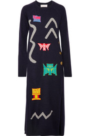 Peter Pilotto Embellished wool-blend jacquard midi dress