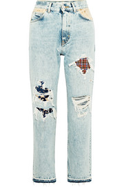 Komo distressed patchwork high-rise straight-leg jeans