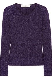 Adelaide metallic ribbed wool-blend sweater