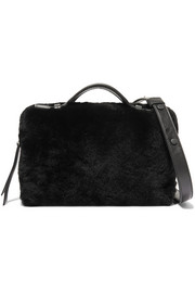 Shearling and leather shoulder bag