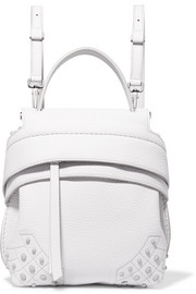Wave mini embellished textured-leather backpack