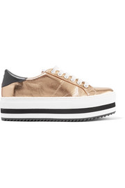 Grande metallic leather platform sneakers