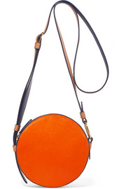 Circle color-block leather and calf hair shoulder bag