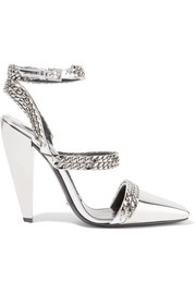 Chain-embellished mirrored-leather pumps