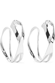 Script silver-plated hoop earrings