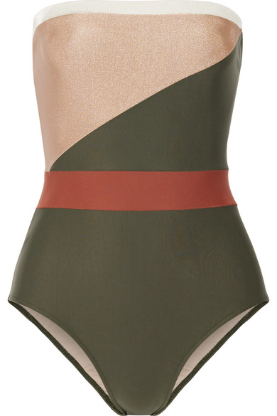 Adriana Degreas - Paneled Bandeau Swimsuit - Army green