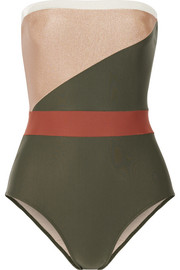 Paneled bandeau swimsuit