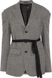 Oversized grosgrain-trimmed houndstooth wool blazer