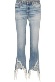 R13 Kick Fit distressed mid-rise flared jeans