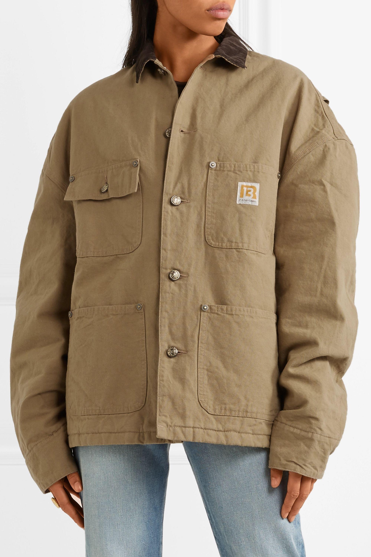 R13 Workman oversized corduroy-trimmed cotton-canvas jacket