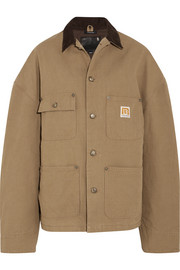 Workman oversized corduroy-trimmed cotton-canvas jacket