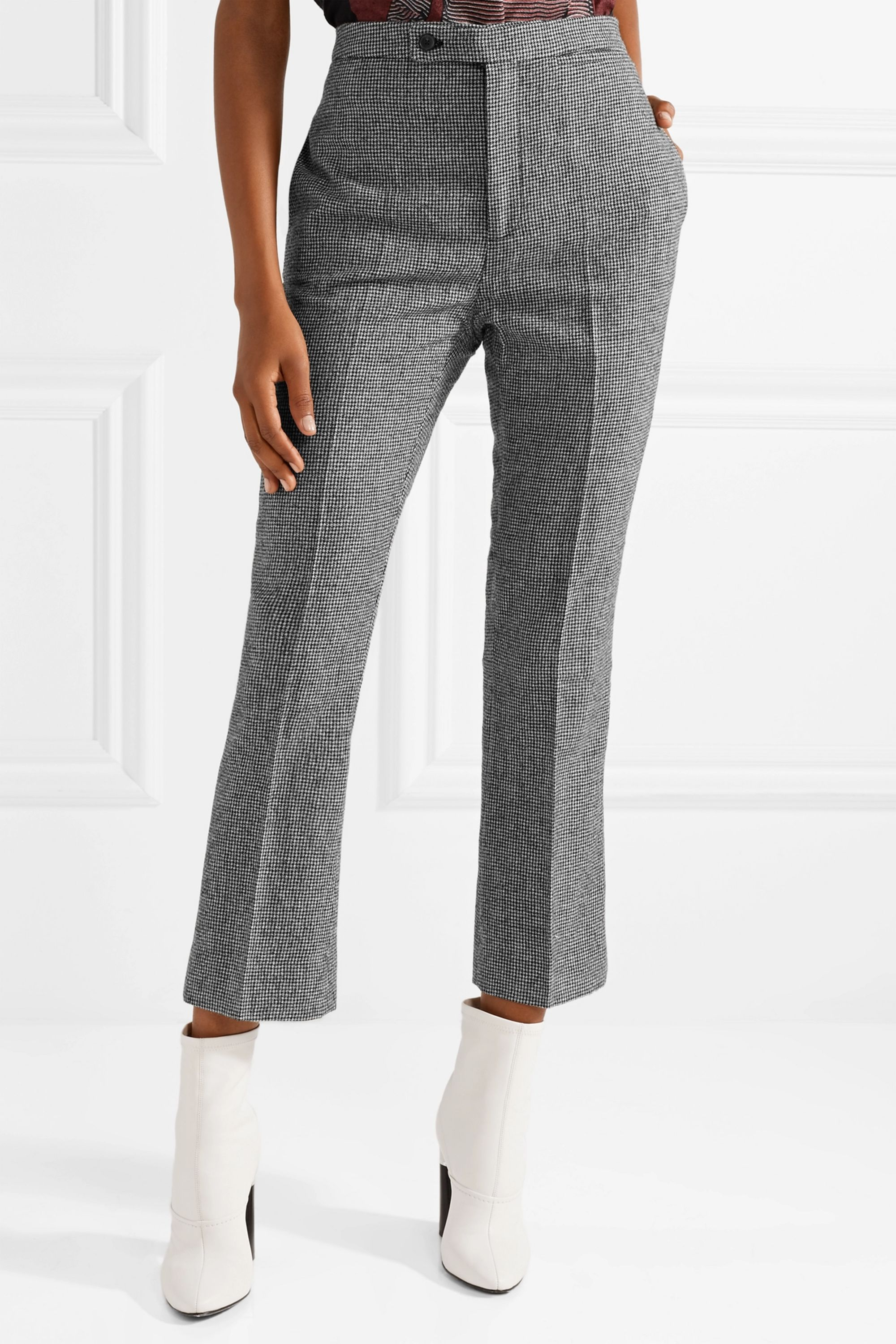 R13 Cropped houndstooth wool flared pants