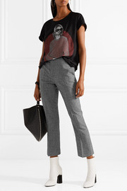 Cropped houndstooth wool flared pants
