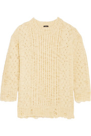 R13 Oversized distressed cable-knit wool sweater