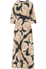 Annabelle printed silk-twill maxi dress