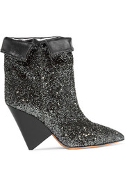 Isabel Marant Luliana glittered metallic leather ankle boots