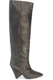 Isabel Marant Loyko metallic brushed-leather knee boots