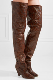 Isabel Marant Lostynn embossed-leather over-the-knee boots