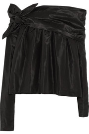 Wonky off-the-shoulder silk-taffeta top