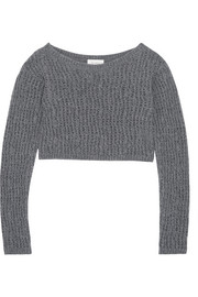Cropped open-knit wool sweater