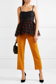 Crepe and flocked tulle peplum top