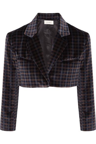 Isa Arfen - Cropped Tartan Velvet Jacket - Dark brown