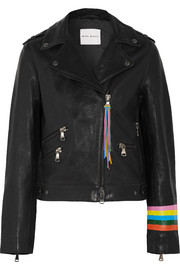 Fox painted leather biker jacket