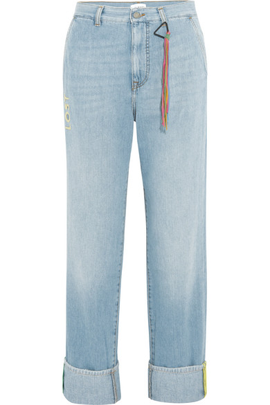 Lost Ribbon Embroidered Boyfriend Jeans, Blue