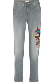 Scout appliquéd high-rise skinny jeans