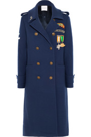 Scout Patch embellished wool-blend gabardine coat