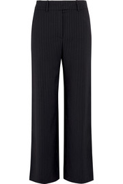 Metallic-trimmed pinstriped crepe pants