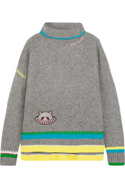 Embroidered appliquéd cashmere and wool-blend turtleneck sweater